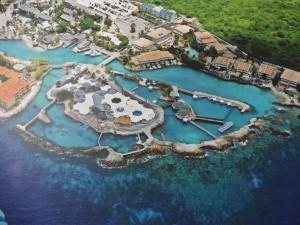 plattegrond van Curacao Dolphin Therapy Centra (CDTC) met daar direct boven ons appartementencomplex